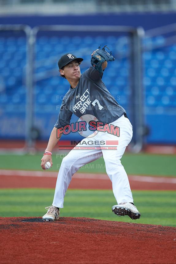 Jaxon Lucas (7) of Garner High School in Raleigh, NC during the Atlantic Coast Prospect Showcase hosted by Perfect Game at Truist Point on August 23, 2020 in High Point, NC. (Brian Westerholt/Four Seam Images)