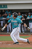 Adam Rice #29 of the Coastal Carolina University Chanticleers hitting in a game against the University of Michigan Wolverines at the Carvelle Resort Classic Tournament held at Watson Stadium at Vrooman Field in Conway,, SC on March 13, 2010. Photo by Robert Gurganus/Four Seam Images