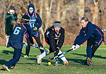 LITCHFIELD, CT-111820JS15— Wamogo's Grace Farrell  (6) tries to get through Shepaug's Grace Crispino  (6) and Brooke Fredericks  (7) during their field hockey game Wednesday at Wamogo High School. <br />  Jim Shannon Republican-American