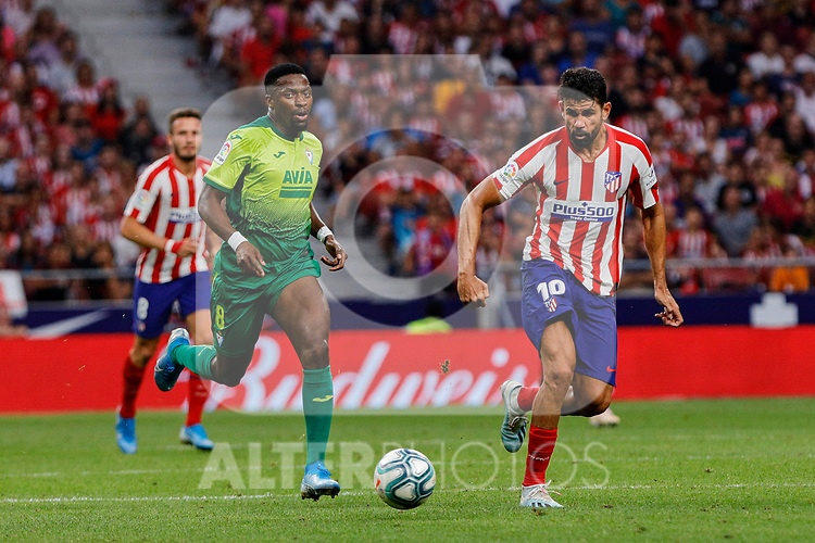 Diego Costa of Atletico de Madrid and Pape Diop of SD Eibar in action during La Liga match between Atletico de Madrid and SD Eibar at Wanda Metropolitano Stadium in Madrid, Spain.September 01, 2019. (ALTERPHOTOS/A. Perez Meca)