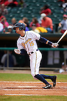 Montgomery Biscuits outfielder Tyler Goeddel (15) at bat during a game against the Jackson Generals on April 29, 2015 at Riverwalk Stadium in Montgomery, Alabama.  Jackson defeated Montgomery 4-3.  (Mike Janes/Four Seam Images)