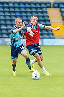 Michael Harriman of Wycombe Wanderers holds off Garry Thompson of Wycombe Wanderers during the Open Training Session in front of supporters during the Wycombe Wanderers 2016/17 Team & Individual Squad Photos at Adams Park, High Wycombe, England on 1 August 2016. Photo by Jeremy Nako.