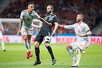 Spain Thiago Alcantara and Sergio Ramos and Argentina Gonzalo Higuaín during friendly match between Spain and Argentina at Wanda Metropolitano in Madrid , Spain. March 27, 2018.  *** Local Caption *** © pixathlon<br /> Contact: +49-40-22 63 02 60 , info@pixathlon.de