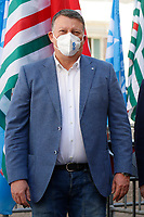 Pierpaolo Bombardieri, secretary of UIL trade union poses for photographers during the demonstration of the trade unions in Piazza Montecitorio .<br /> Rome (Italy), May 28th 2021<br /> Photo Samantha Zucchi Insidefoto