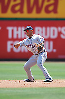 Lakeland Flying Tigers second baseman Isaac Paredes (3) throws to second base during a game against the Clearwater Threshers on May 2, 2018 at Spectrum Field in Clearwater, Florida.  Clearwater defeated Lakeland 7-5.  (Mike Janes/Four Seam Images)
