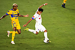 Edwin Rodriguez of CD Olimpia (HON) in action against Tigres UANL (MEX) during their CONCACAF Champions League Semi Finals match at the Orlando's Exploria Stadium on 19 December 2020, in Florida, USA. Photo by Victor Fraile / Power Sport Images