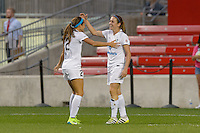 Chicago, IL - Wednesday Sept. 07, 2016: Shea Groom celebrates scoring, Heather O'Reilly during a regular season National Women's Soccer League (NWSL) match between the Chicago Red Stars and FC Kansas City at Toyota Park.