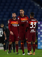 Football, Serie A: AS Roma - Sampdoria calcio, Olympic stadium, Rome, January 3, 2021. <br /> Roma's players celebrate after winning 1-0 the Italian Serie A football match between Roma and Sampdoria at Rome's Olympic stadium, on January 3, 2021.  <br /> UPDATE IMAGES PRESS/Isabella Bonotto