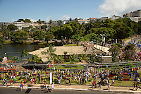 A lake near Arena Fonte Nova with hordes of fans