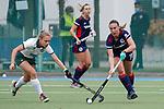 v.li.: Julia Hemmerle (Mülheim, 1), Florencia Habif (MHC, 18), Zweikampf, Spielszene, Duell, duel, tackle, tackling, Dynamik, Action, Aktion, 01.05.2021, Mannheim  (Deutschland), Hockey, Deutsche Meisterschaft, Viertelfinale, Damen, Mannheimer HC - HTC Uhlenhorst Mülheim <br /> <br /> Foto © PIX-Sportfotos *** Foto ist honorarpflichtig! *** Auf Anfrage in hoeherer Qualitaet/Aufloesung. Belegexemplar erbeten. Veroeffentlichung ausschliesslich fuer journalistisch-publizistische Zwecke. For editorial use only.