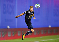 LAKE BUENA VISTA, FL - JULY 26: Anton Tinnerholm of New York City FC settles the ball out of the air during a game between New York City FC and Toronto FC at ESPN Wide World of Sports on July 26, 2020 in Lake Buena Vista, Florida.