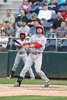 Doug Votolato (21) of the Spokane Indians bats during a game against the Everett AquaSox at Everett Memorial Stadium on July 24, 2015 in Everett, Washington. Everett defeated Spokane, 8-6. (Larry Goren/Four Seam Images)