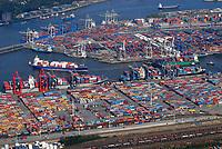 Containerhafen: EUROPA, DEUTSCHLAND, HAMBURG, (EUROPE, GERMANY), 06.09.2007: Container, Verladung, Containerverladung, Hamburger Hafen, HHLA, Elbe, Schiff, Seeschiff, Containerschiff, Logistik, Transport, Wirtschaft, Boom, Schatten, Elbe, Ausbau, Erweiterung, Container Termenal Burchardkai, Eurokai, Waltershof, Burcharkai, Athabaskakai, Predoehlkai,  Luftbild, Luftansicht, Luftaufnahme, Aufwind-Luftbilder<br />c o p y r i g h t : A U F W I N D - L U F T B I L D E R . de<br />G e r t r u d - B a e u m e r - S t i e g 1 0 2, <br />2 1 0 3 5 H a m b u r g , G e r m a n y<br />P h o n e + 4 9 (0) 1 7 1 - 6 8 6 6 0 6 9 <br />E m a i l H w e i 1 @ a o l . c o m<br />w w w . a u f w i n d - l u f t b i l d e r . d e<br />K o n t o : P o s t b a n k H a m b u r g <br />B l z : 2 0 0 1 0 0 2 0 <br />K o n t o : 5 8 3 6 5 7 2 0 9<br />C o p y r i g h t n u r f u e r j o u r n a l i s t i s c h Z w e c k e, keine P e r s o e n l i c h ke i t s r e c h t e v o r h a n d e n, V e r o e f f e n t l i c h u n g  n u r  m i t  H o n o r a r  n a c h M F M, N a m e n s n e n n u n g  u n d B e l e g e x e m p l a r !