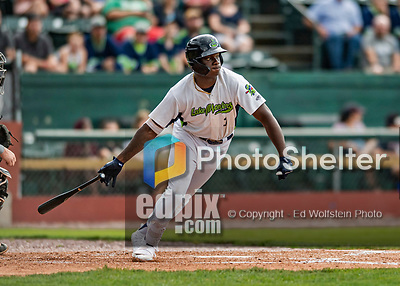 21 July 2019: Vermont Lake Monsters infielder Lawrence Butler in action against the Tri-City ValleyCats at Centennial Field in Burlington, Vermont. The Lake Monsters rallied to defeat the ValleyCats 6-3 in NY Penn League play. Mandatory Credit: Ed Wolfstein Photo *** RAW (NEF) Image File Available ***