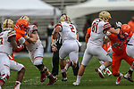 Boston College Eagles running back AJ Dillon (2) runs through a huge hole during the Servpro First Responder Bowl game between Boise State Broncos and Boston College Eagles at the Cotton Bowl Stadium in Dallas, Texas.