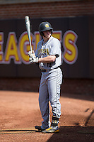 Kal Simmons (10) of the Kennesaw State Owls waits for his turn to bat during the game against the Winthrop Eagles at the Winthrop Ballpark on March 15, 2015 in Rock Hill, South Carolina.  The Eagles defeated the Owls 11-4.  (Brian Westerholt/Four Seam Images)