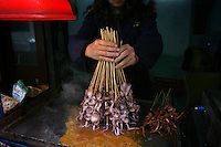 CHINA. Hubei Province. Wuhan. A woman sells squid from her small stall Wuhan (population 4.3 million) is a sprawling city that sits on both sides of the Yangtze River.  2008.
