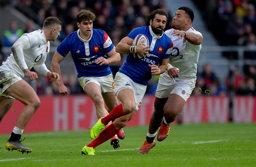 France's Yoann Huget in action during todays match<br /> <br /> Photographer Bob Bradford/CameraSport<br /> <br /> Guinness Six Nations Championship - England v France - Sunday 10th February 2019 - Twickenham Stadium - London<br /> <br /> World Copyright © 2019 CameraSport. All rights reserved. 43 Linden Ave. Countesthorpe. Leicester. England. LE8 5PG - Tel: +44 (0) 116 277 4147 - admin@camerasport.com - www.camerasport.com