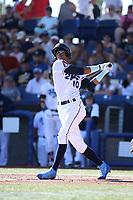 Yan Sanchez (10) of the Hillsboro Hops bats against the Spokane Indians at Ron Tonkin Field on July 22, 2017 in Hillsboro, Oregon. Spokane defeated Hillsboro, 11-4. (Larry Goren/Four Seam Images)