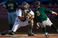 Catcher John Curtis #24 of the Winston-Salem Dash gets ready to tag Alex Presley #3 of the Lynchburg Hillcats as he tries to score in the first inning at Wake Forest Baseball Stadium August 29, 2009 in Winston-Salem, North Carolina. (Photo by Brian Westerholt / Four Seam Images)