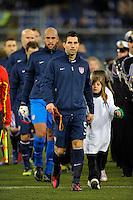 GENOVA, ITALY - February 29, 2012: Carlos Bocanegra (USA) before the USA friendly match against Italy at the Stadium Luigi Ferraris in Genova, Italy.