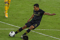 22nd December 2020, Orlando, Florida, USA;  LAFC Eddie Segura centres the ball during the Concacaf Championship between LAFC and Tigres UANL on December 22, 2020, at Exploria Stadium in Orlando, FL.