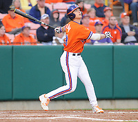 Second baseman Jay Baum (13) of the Clemson Tigers in a game against the University of Alabama-Birmingham on Feb. 17, 2012, at Doug Kingsmore Stadium in Clemson, South Carolina. UAB won 2-1. (Tom Priddy/Four Seam Images)