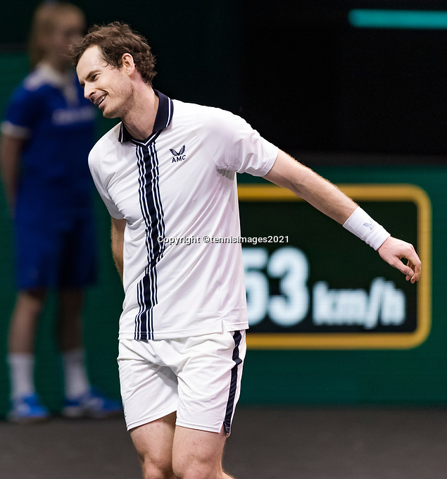 Rotterdam, The Netherlands, 28 Februari 2021, ABNAMRO World Tennis Tournament, Ahoy, First round match: Andy Murray (GBR).<br /> Photo: www.tennisimages.com/henkkoster