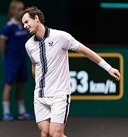 Rotterdam, The Netherlands, 28 Februari 2021, ABNAMRO World Tennis Tournament, Ahoy, First round match: Andy Murray (GBR).<br /> Photo: www.tennisimages.com/henkkoster