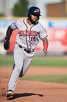 Richmond Flying Squirrels Heliot Ramos (18) running the bases during an Eastern League game against the Erie SeaWolves on August 28, 2019 at UPMC Park in Erie, Pennsylvania.  Richmond defeated Erie 6-4 in the first game of a doubleheader.  (Mike Janes/Four Seam Images)