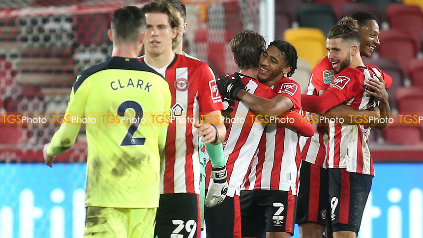 Brentford players celebrate their victory at the end of the match during Brentford vs Newcastle United, Carabao Cup Football at the Brentford Community Stadium on 22nd December 2020