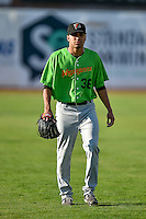 Kevin Escorcia (36) of the Great Falls Voyagers before the game against the Ogden Raptors in Pioneer League action at Lindquist Field on August 16, 2016 in Ogden, Utah. Ogden defeated Great Falls 2-1. (Stephen Smith/Four Seam Images)