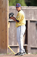 July 7th 2008:  Wilson Ortiz of the State College Spikes, Class-A affiliate of the Pittsburgh Pirates, during a game at Damaschke Field in Oneonta, NY.  Photo by:  Mike Janes/Four Seam Images