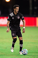 LAKE BUENA VISTA, FL - JULY 14: Jorge Figal #5 of Inter Miami dribbles the ball during a game between Inter Miami CF and Philadelphia Union at Wide World of Sports on July 14, 2020 in Lake Buena Vista, Florida.