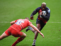 30th September 2020; Ashton Gate Stadium, Bristol, England; Premiership Rugby Union, Bristol Bears versus Leicester Tigers; Niyi Adeolokun of Bristol Bears is tackled by Freddie Steward of Leicester Tigers