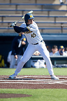 Michigan Wolverines pinch hitter Logan Pollack (45) at bat during the NCAA baseball game against the Illinois Fighting Illini on March 20, 2021 at Fisher Stadium in Ann Arbor, Michigan. Michigan won the game 8-1. (Andrew Woolley/Four Seam Images)