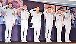 BAP, May 25, 2013 :  Yokohama, Japan : (L-R)Dae hyun Jung, Jong up Moon, Him chan Kim, Yong guk Bang, Young jae Yoo and ZELO (Jun hong Choi) of B.A.P attend a press conference in Yokohama, Japan, on May 25, 2013. (Photo by Keizo Mori/AFLO)