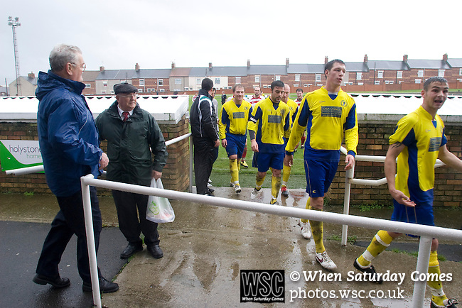 Horden Colliery Welfare 0 Billingham Synthonia 2, 24/10/2009. Welfare Park, Northern League Division One. Billingham players leaving the pitch at half-time during the Northern League division one fixture between Horden Colliery Welfare (red) and Billingham Synthonia, as seen from the club's main stand at their Welfare Park, Horden. Horden won division two in the previous season but lost this fixture 2-0 against their higher-placed opponents. Photo by Colin McPherson.