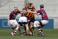 CAI vs RBAI | Tuesday 3rd March 2015<br /> <br /> John Dickson is tackled by Peter Bonnar during the 2015 Ulster Schools Cup Semi-Final between Coleraine Inst and RBAI at the Kingspan Stadium, Ravenhill Park, Belfast, Northern Ireland.<br /> <br /> Picture credit: John Dickson / DICKSONDIGITAL