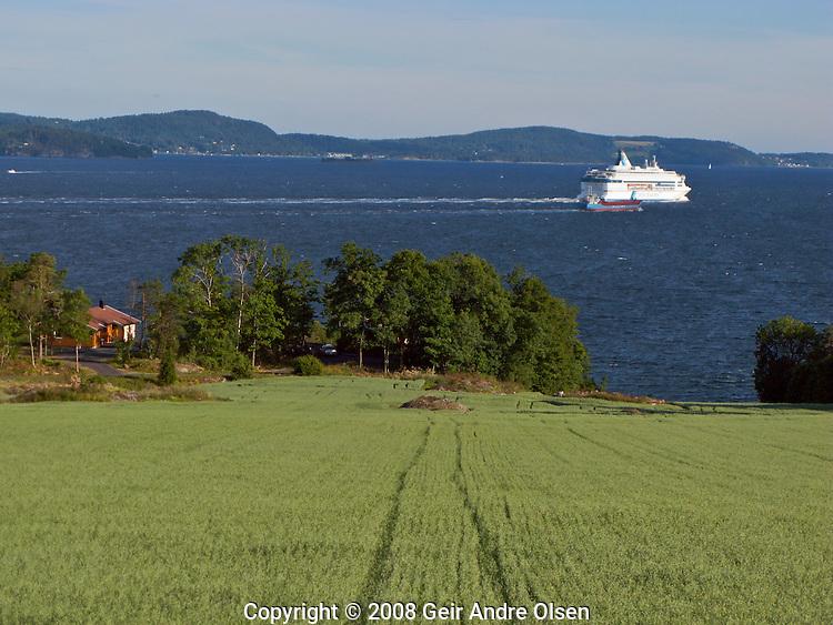 Ferry between Oslo, Norway and Copenhagen, Denmark passing Filtvet in the Oslofjord