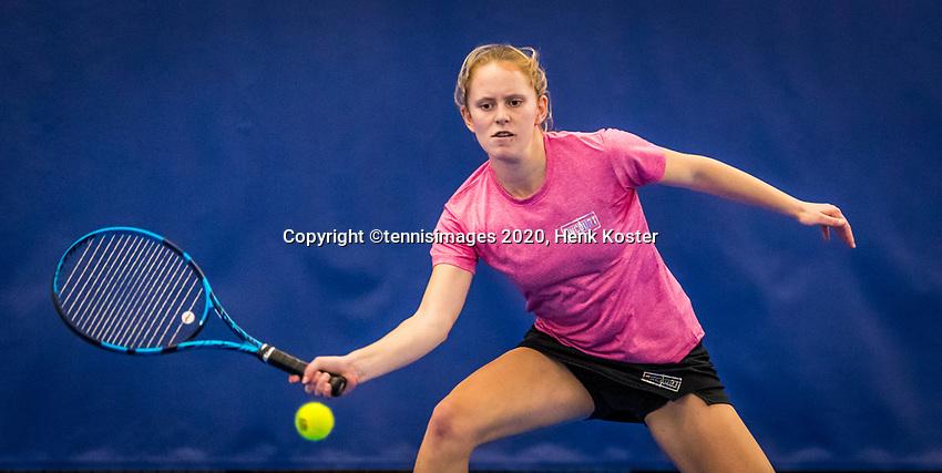Amstelveen, Netherlands, 17  December, 2020, National Tennis Center, NTC, NK Indoor, National  Indoor Tennis Championships,   :  Sophie Schouten (NED) <br /> Photo: Henk Koster/tennisimages.com