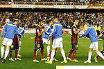 Real Madrid´s players and F.C. Barcelona´s Messi, Neymar Jr and Mascherano before the Spanish Copa del Rey `King´s Cup´ final soccer match between Real Madrid and F.C. Barcelona at Mestalla stadium, in Valencia, Spain. April 16, 2014. (ALTERPHOTOS/Victor Blanco)
