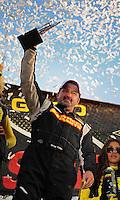 Dec. 10, 2011; Chandler, AZ, USA;  LOORRS pro two unlimited driver Greg Adler celebrates after winning round 15 at Firebird International Raceway. Mandatory Credit: Mark J. Rebilas-