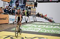 Sepp Kuss (USA/Jumbo-Visma) finishing atop the Col du Portet (HC/2215m)<br /> <br /> Stage 17 from Muret to Saint-Lary-Soulan (Col du Portet)(178km)<br /> 108th Tour de France 2021 (2.UWT)<br /> <br /> ©kramon