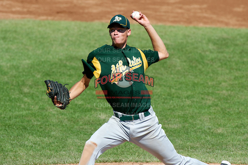 Trey Ball #57 of New Castle High School in New Castle, Indiana playing for the Oakland Athletics scout team during the East Coast Pro Showcase at Alliance Bank Stadium on August 1, 2012 in Syracuse, New York.  (Mike Janes/Four Seam Images)