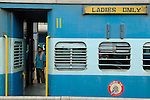 """Train carriage at Ernakulum railway station - with a sign reading """"for ladies only"""". Ernakulum, Kerala, India."""