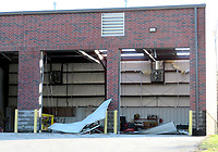 Westside Eagle Observer/RANDY MOLL<br /> The Gallatin Fire Department, located on Fairmount Road, east of Siloam Springs, suffered damage in a late-night storm on Sunday night (Oct. 20, 2019).