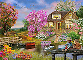 Interlitho-Franco, LANDSCAPES, LANDSCHAFTEN, PAISAJES, paintings+++++,lake,house,childen playing,swans, room,KL4633,#l#, EVERYDAY,puzzle,puzzles