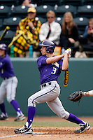 Ty Afenir #3 of the Washington Huskies bats against the UCLA Bruins at Jackie Robinson Stadium on March 17, 2013 in Los Angeles, California. (Larry Goren/Four Seam Images)