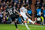 Marcelo Vieira Da Silva (R) of Real Madrid battles for the ball with Dani Alves of Paris Saint Germain during the UEFA Champions League 2017-18 Round of 16 (1st leg) match between Real Madrid vs Paris Saint Germain at Estadio Santiago Bernabeu on February 14 2018 in Madrid, Spain. Photo by Diego Souto / Power Sport Images